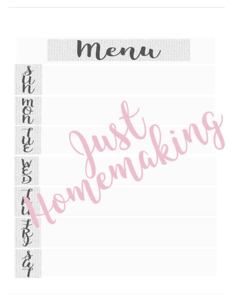 free printable for meal planning on a budget from Just Homemaking