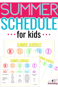 pin for Pinterest about summer schedule for kids