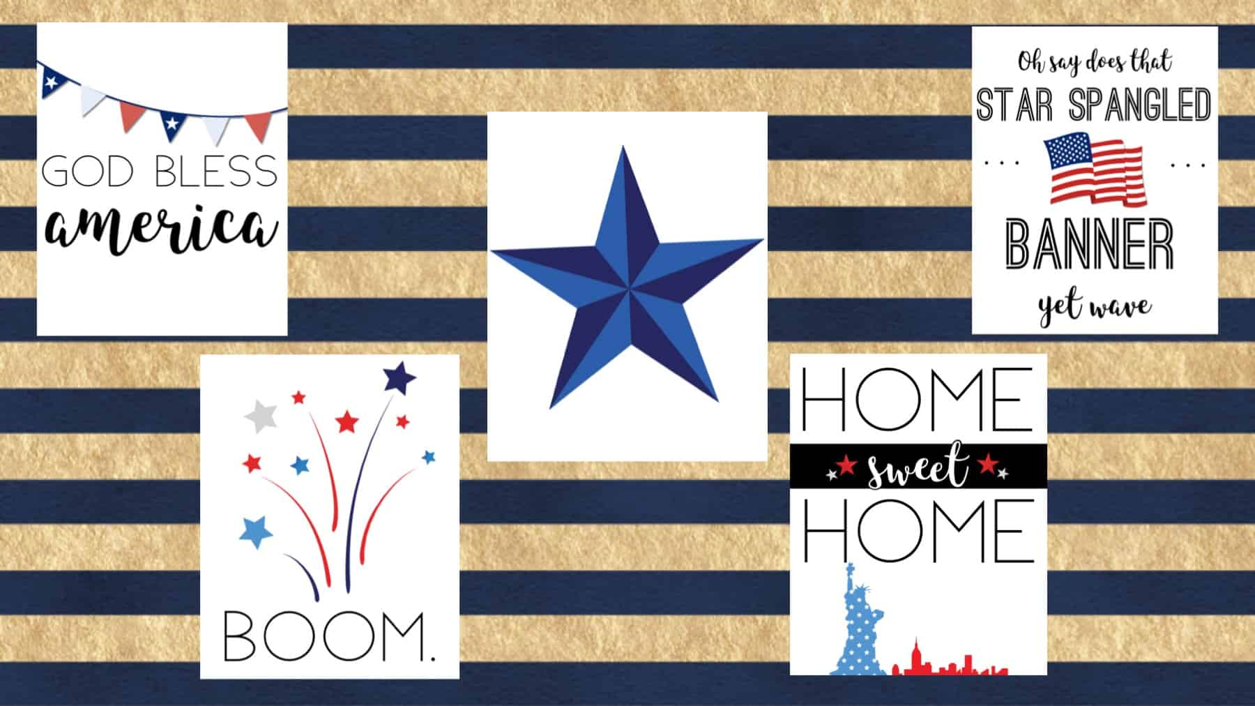 Printable Fourth of July decorations, 5-piece patriotic wall decor