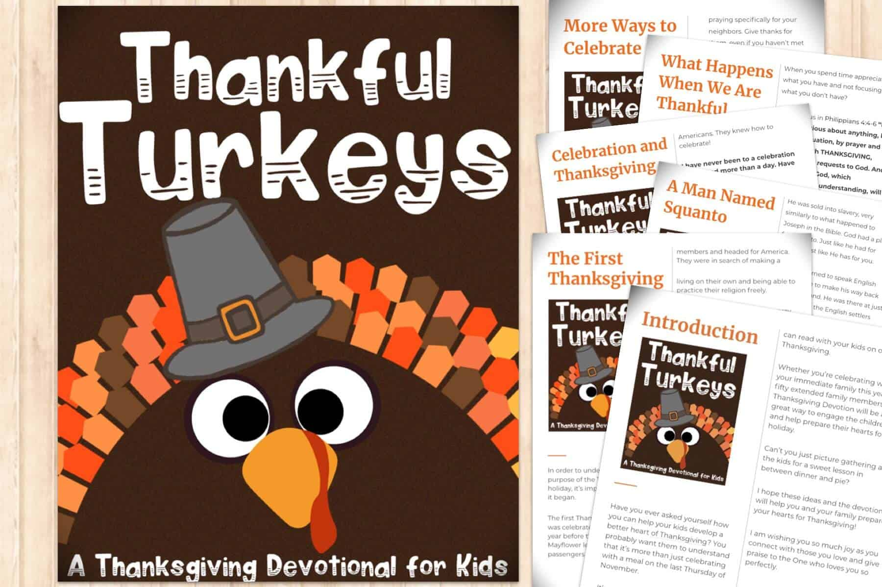 Thankful Turkeys printable Thanksgiving devotion for kids