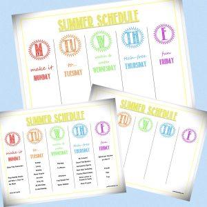 summer schedule for kids printable