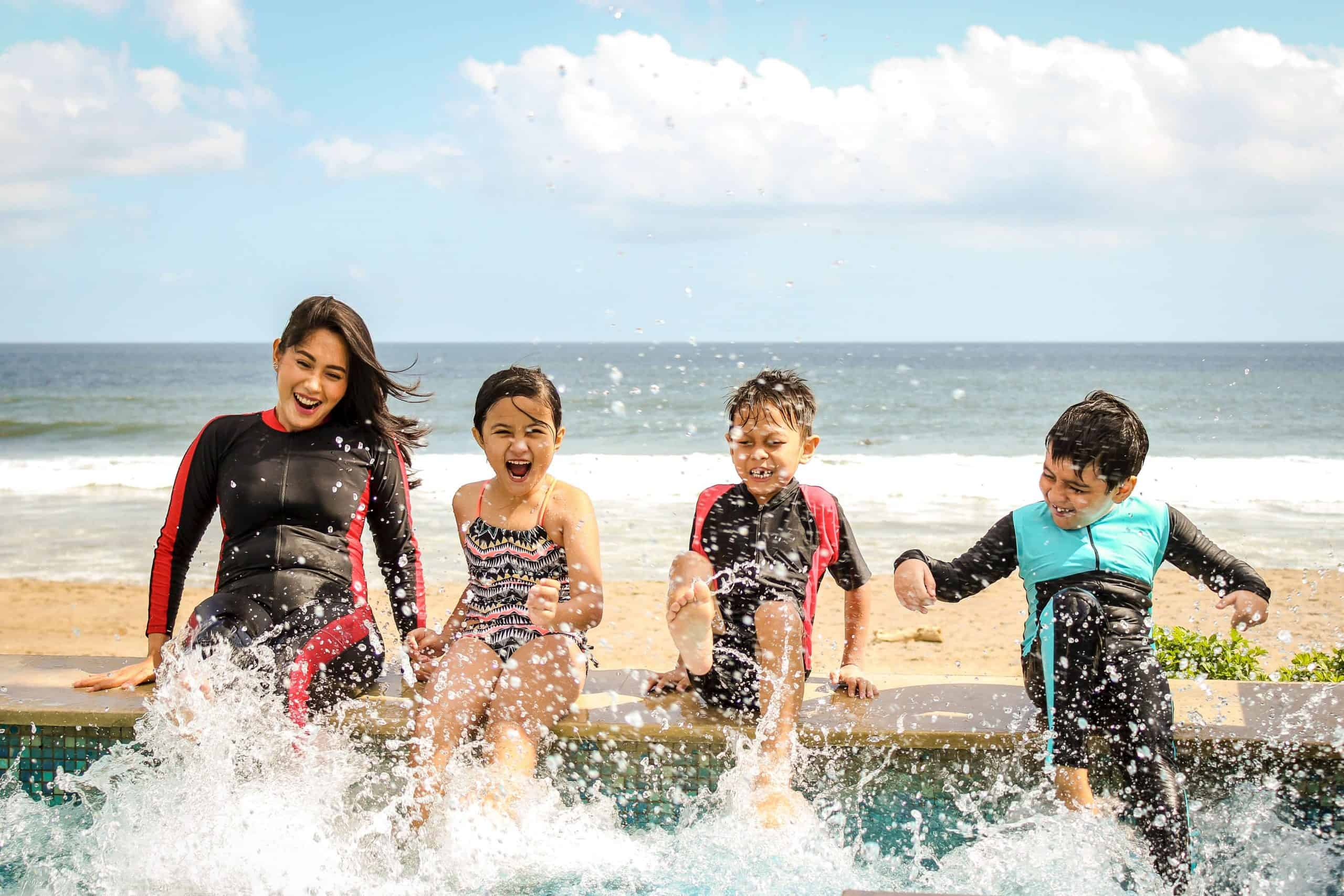 Kids playing in the water in summer