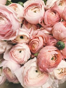 Bouquet of pink flowers for anniversary