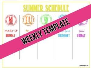 printable weekly summer schedule template