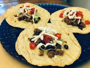 Plated gf df tacos on corn tortillas