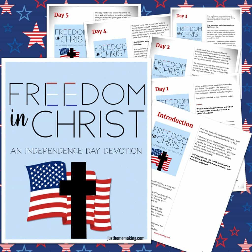 5-Day Fourth of July Devotion Printable images