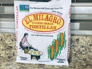 El Milagro corn tortiallas in a package