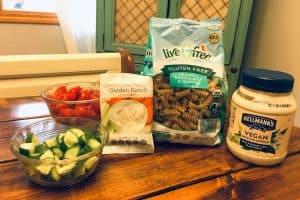 Gf Df Pasta salad ingredients from Aldi