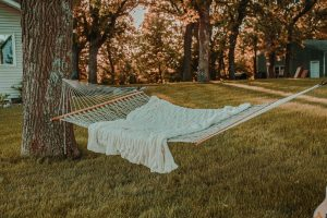 A comfy, restful hammock, ready to lay in