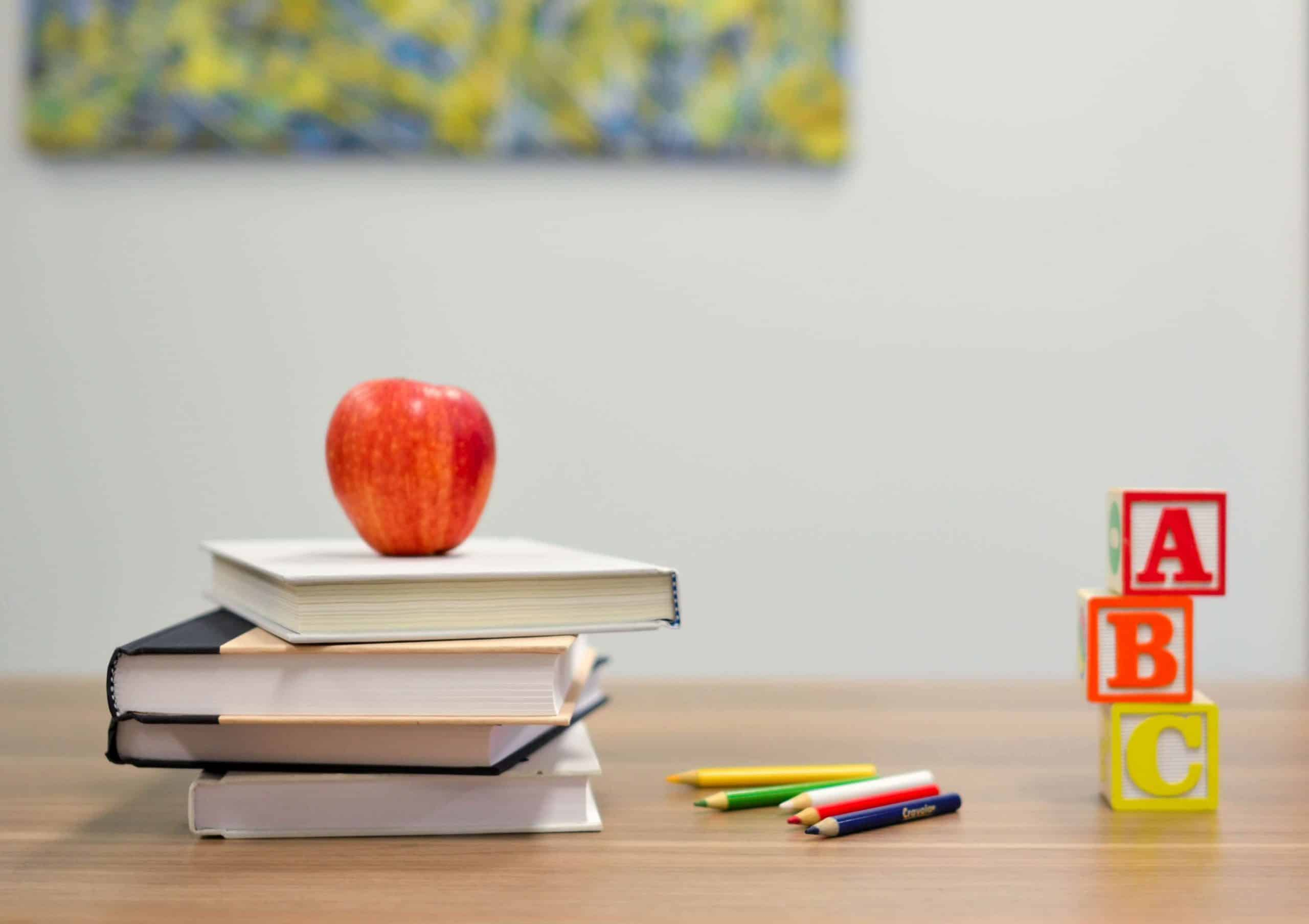 Apple, books, and abc's for sending my youngest child to school