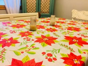Table set with tablecloth and candles for our family sabbath